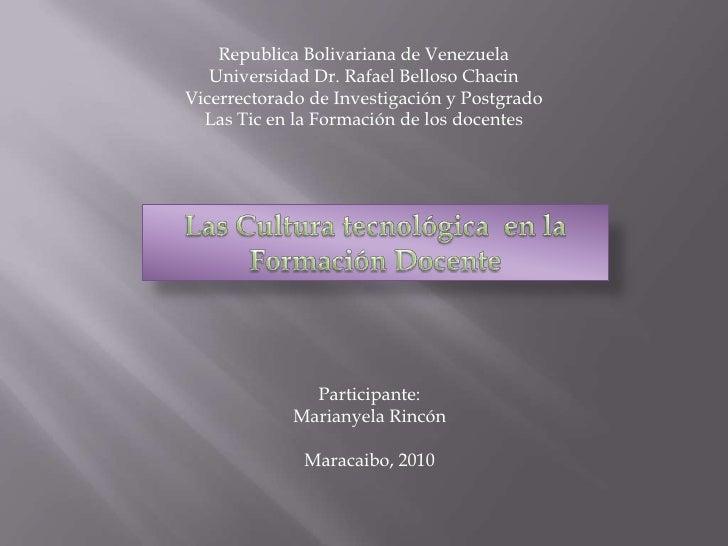 Republica Bolivariana de Venezuela    Universidad Dr. Rafael Belloso Chacin Vicerrectorado de Investigación y Postgrado   ...