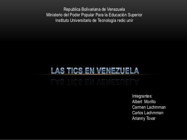Republica Bolivariana de VenezuelaMinisterio del Poder Popular Para la Educación Superior     Instituto Universitario de T...