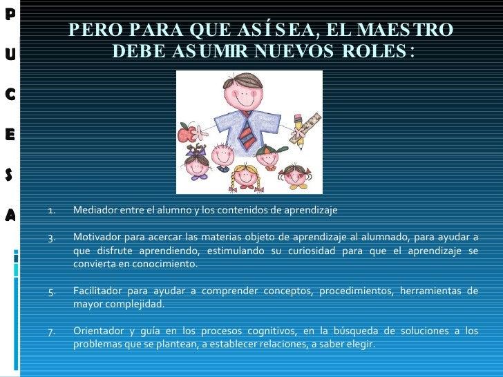 PERO PARA QUE ASÍ SEA, EL MAESTRO  DEBE ASUMIR NUEVOS ROLES: <ul><li>Mediador entre el alumno y los contenidos de aprendiz...