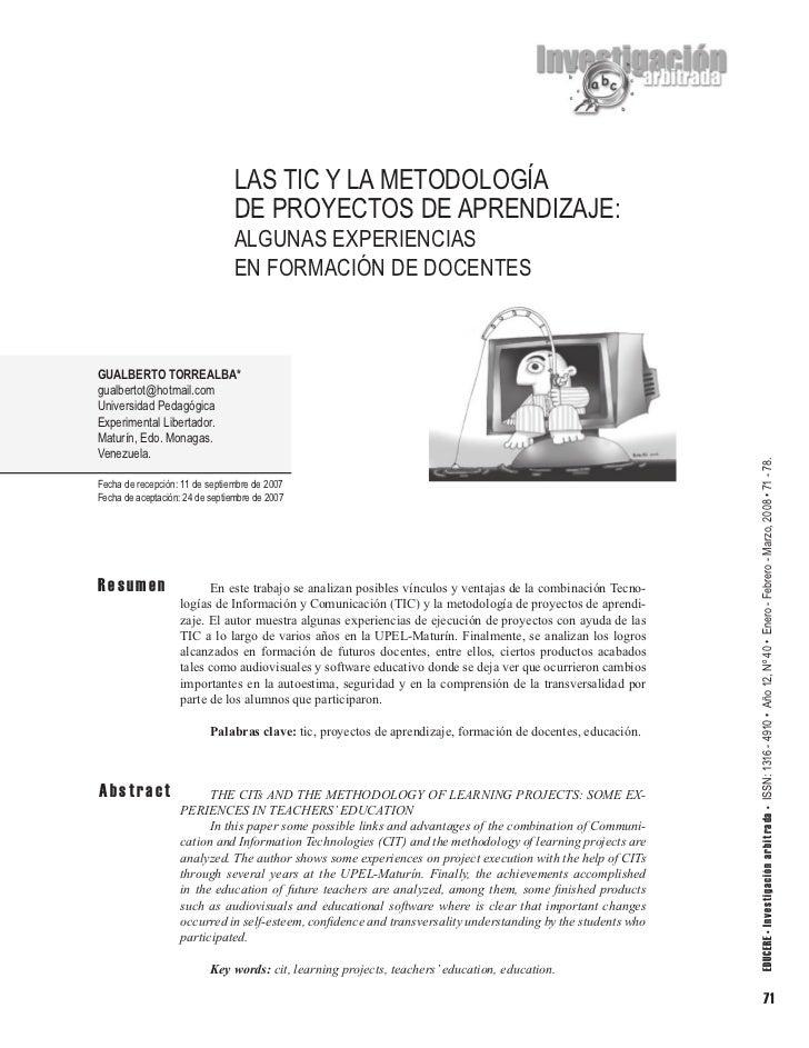 LAS TIC Y LA METODOLOGÍA                                 DE PROYECTOS DE APRENDIZAJE:                                 ALGU...