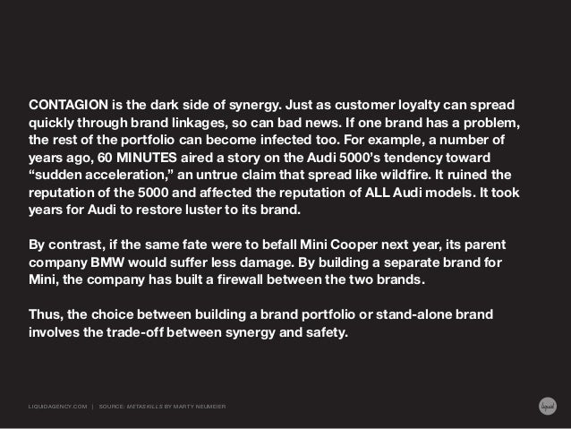 CONTAGION is the dark side of synergy. Just as customer loyalty can spread quickly through brand linkages, so can bad news...
