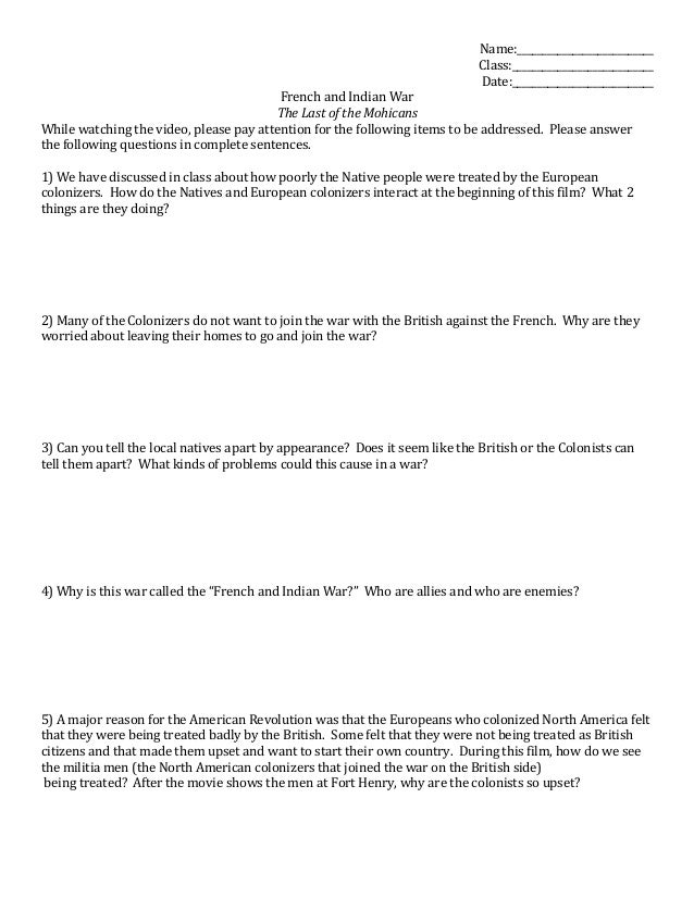 Last of the Mohicans video worksheet – French and Indian War Worksheets
