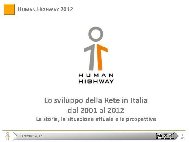 HUMAN HIGHWAY 2012                Lo sviluppo della Rete in Italia                        dal 2001 al 2012         La stor...