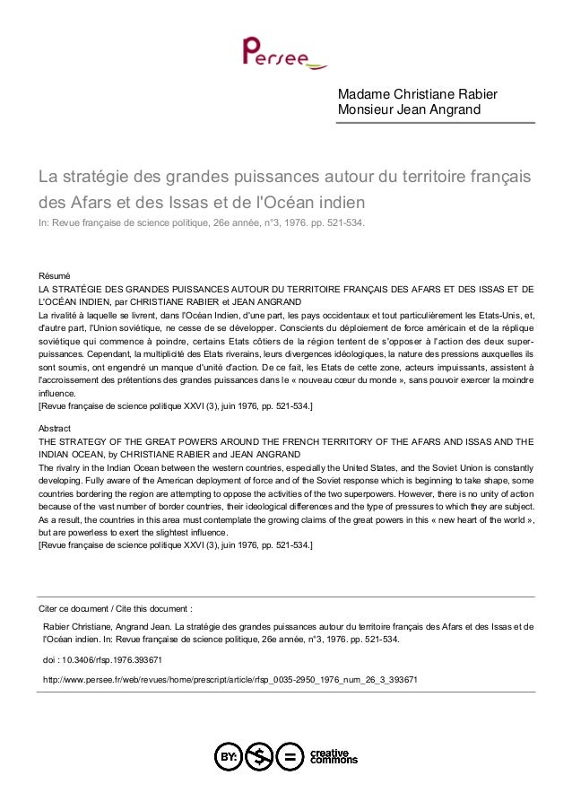 Madame Christiane Rabier Monsieur Jean Angrand La stratégie des grandes puissances autour du territoire français des Afars...