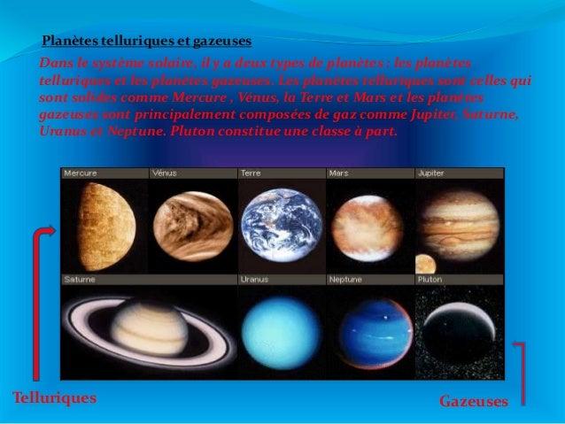 Dans le système solaire, il y a deux types de planètes : les planètes telluriques et les planètes gazeuses. Les planètes t...