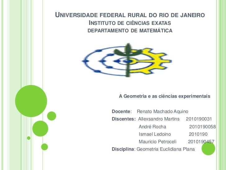 UNIVERSIDADE FEDERAL RURAL DO RIO DE JANEIRO         INSTITUTO DE CIÊNCIAS EXATAS         DEPARTAMENTO DE MATEMÁTICA      ...