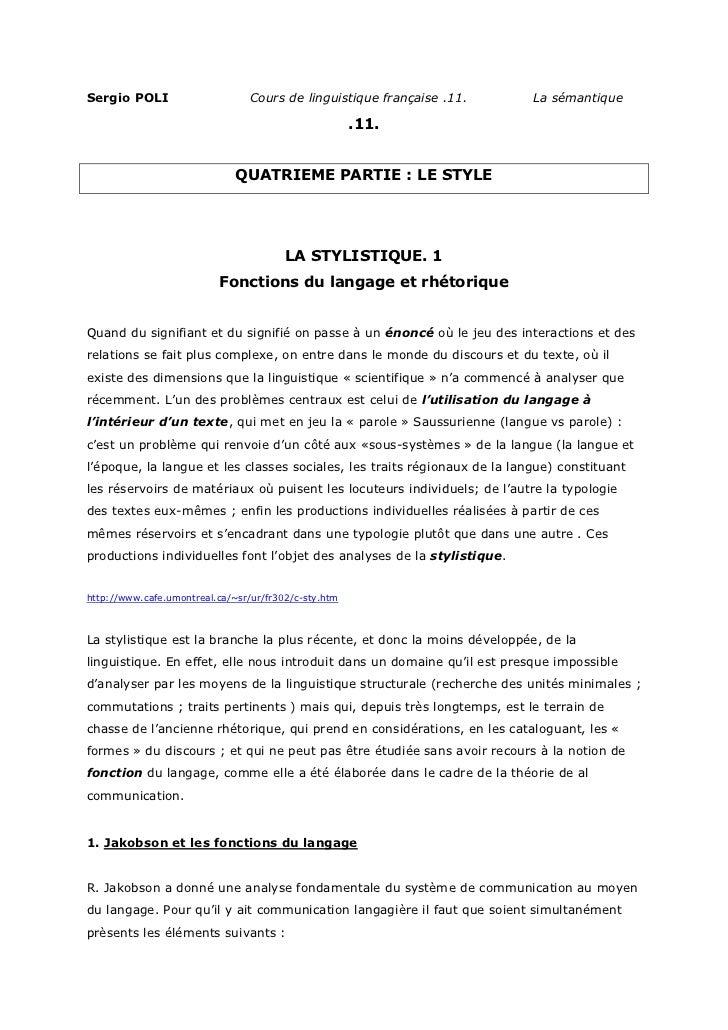 Sergio POLI                      Cours de linguistique française .11.      La sémantique                                  ...