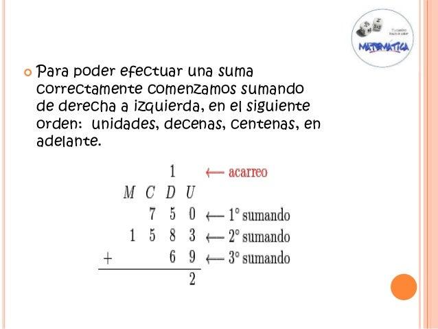  Para poder efectuar una suma correctamente comenzamos sumando de derecha a izquierda, en el siguiente orden: unidades, d...