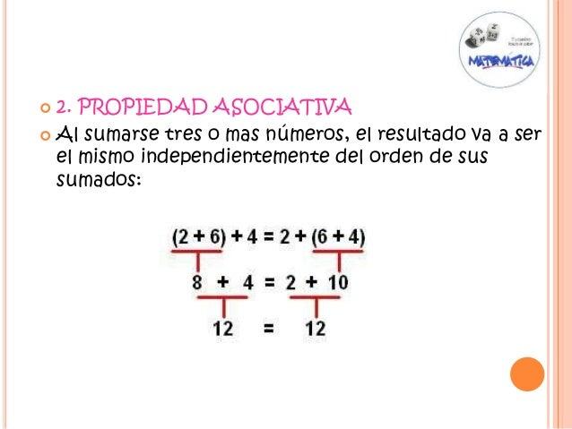  2. PROPIEDAD ASOCIATIVA  Al sumarse tres o mas números, el resultado va a ser el mismo independientemente del orden de ...