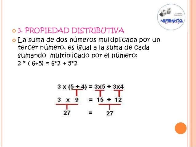  3. PROPIEDAD DISTRIBUTIVA  La suma de dos números multiplicada por un tercer número, es igual a la suma de cada sumando...