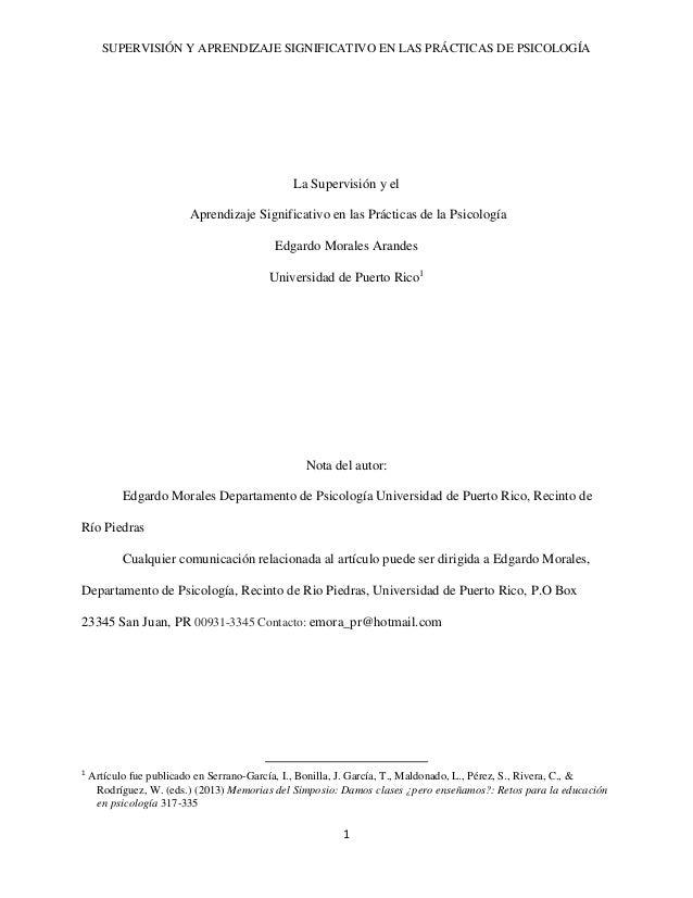 SUPERVISIÓN Y APRENDIZAJE SIGNIFICATIVO EN LAS PRÁCTICAS DE PSICOLOGÍA 1 La Supervisión y el Aprendizaje Significativo en ...