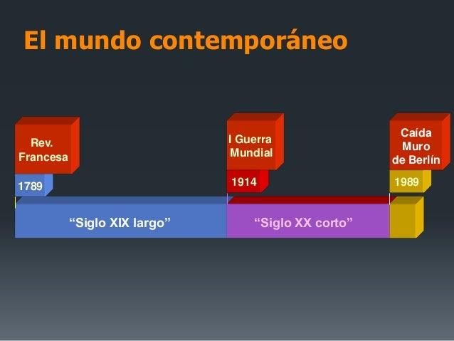 """El mundo contemporáneo""""Siglo XIX largo""""1789Rev.Francesa1914I GuerraMundial1989CaídaMurode Berlín""""Siglo XX corto"""""""
