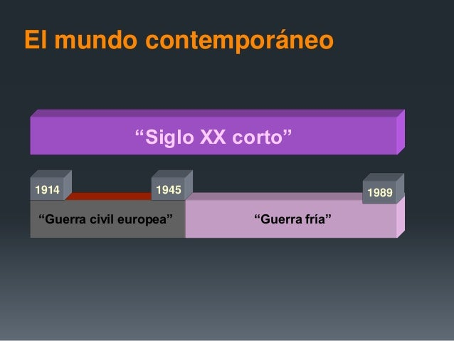 "El mundo contemporáneo""Siglo XIX largo""""Siglo XX corto""""Guerra civil europea""1914 1945 1989""Guerra fría"""