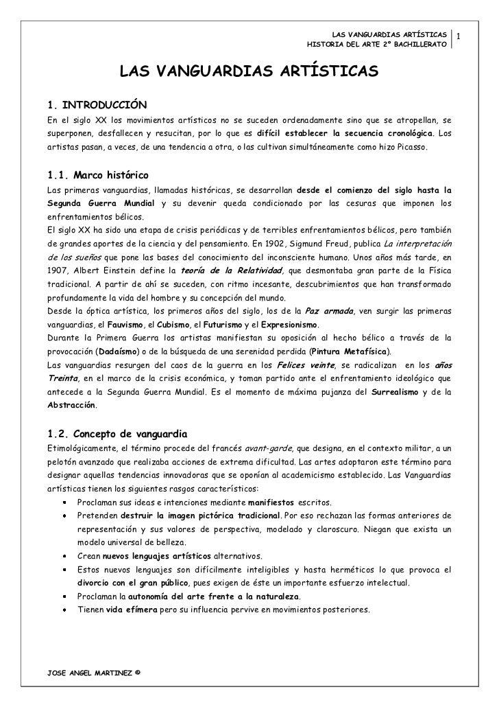 LAS VANGUARDIAS ARTÍSTICAS         1                                                                   HISTORIA DEL ARTE 2...