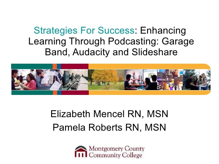 Strategies For Success : Enhancing  Learning Through Podcasting: Garage Band, Audacity and Slideshare Elizabeth Mencel RN,...