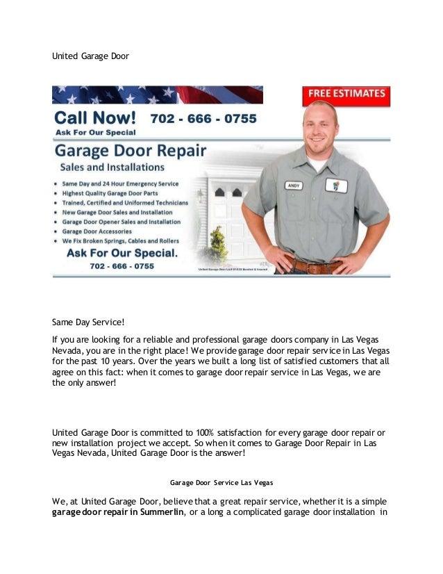 United Garage Door Las Vegas Best Garage Door Repair Service
