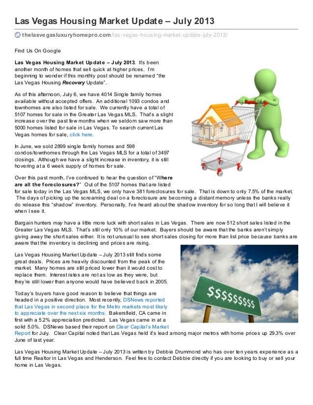 Las vegas housing market update   july 2013