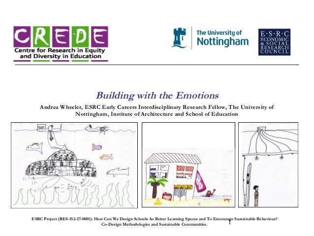 Building with the Emotions    Andrea Wheeler, ESRC Early Careers Interdisciplinary Research Fellow, The University of     ...