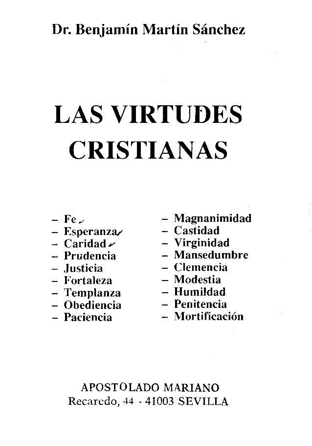 Las Virtudes Cristianas P Benjamín Martín Sánchez