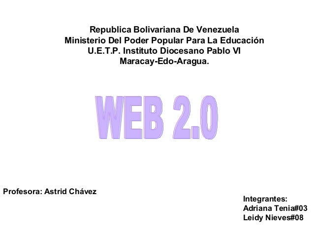 Republica Bolivariana De Venezuela  Ministerio Del Poder Popular Para La Educación  U.E.T.P. Instituto Diocesano Pablo VI ...