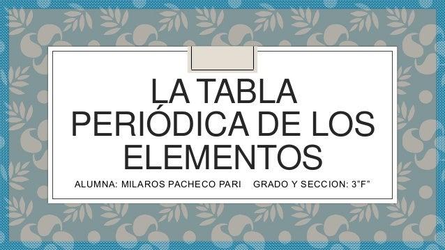 la tabla peridica de los elementos alumna milaros pacheco pari grado y seccion 3