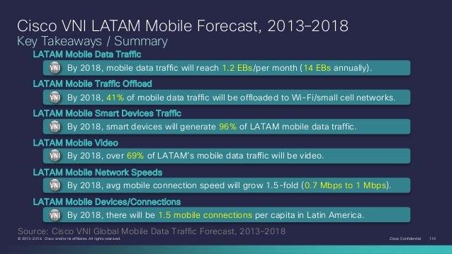 Cisco VNI LATAM Mobile Forecast, 2013–2018 Key Takeaways / Summary LATAM Mobile Data Traffic By 2018, mobile data traffic ...