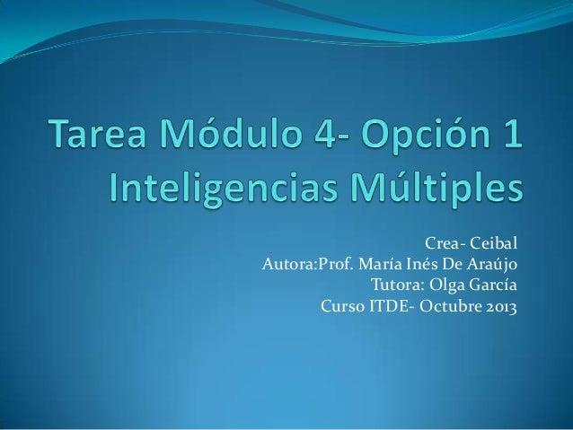 Crea- Ceibal Autora:Prof. María Inés De Araújo Tutora: Olga García Curso ITDE- Octubre 2013