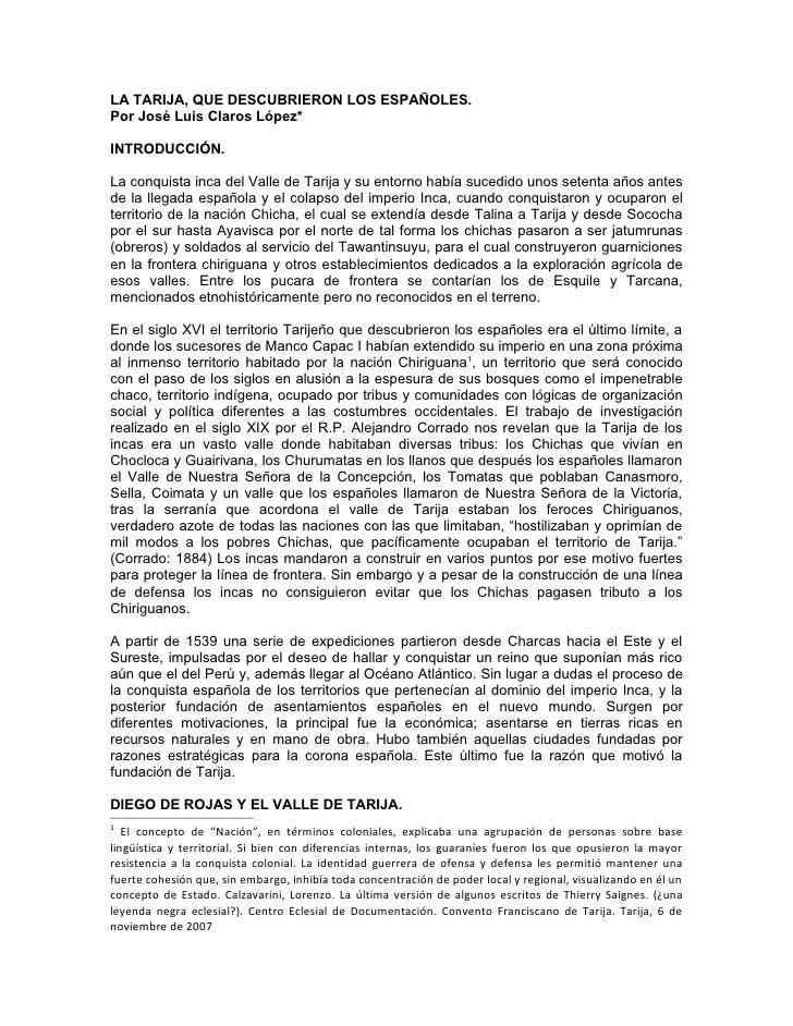 LA TARIJA, QUE DESCUBRIERON LOS ESPAÑOLES.Por José Luis Claros López*INTRODUCCIÓN.La conquista inca del Valle de Tarija y ...