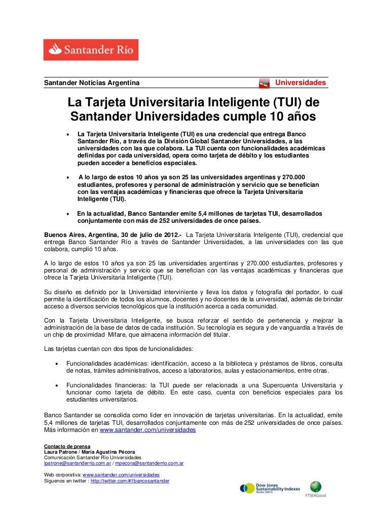 Santander Noticias Argentina                                                        Universidades          La Tarjeta Univ...