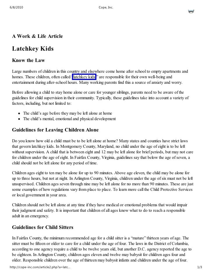 6/8/2010                                               Cope, Inc.      A Work & Life Article   Latchkey Kids  Know the Law...