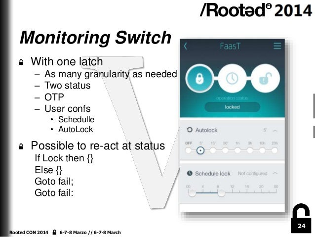 Monitoring Switch With one latch – – – –  As many granularity as needed Two status OTP User confs • Schedulle • AutoLock  ...