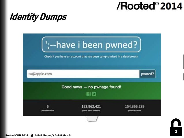 Identity Dumps  3 Rooted CON 2014  6-7-8 Marzo // 6-7-8 March