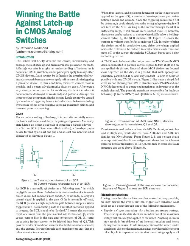 Analog Dialogue 35-05 (2001) 1 Winning the Battle Against Latch-up in CMOS Analog Switches by Catherine Redmond (catherine...