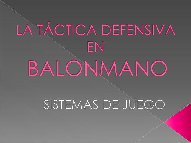 A continuación analizaremos los principales sistemas defensivos que se utilizan en balonmano: - Defensa 6:0 - Defensa 3:2:...
