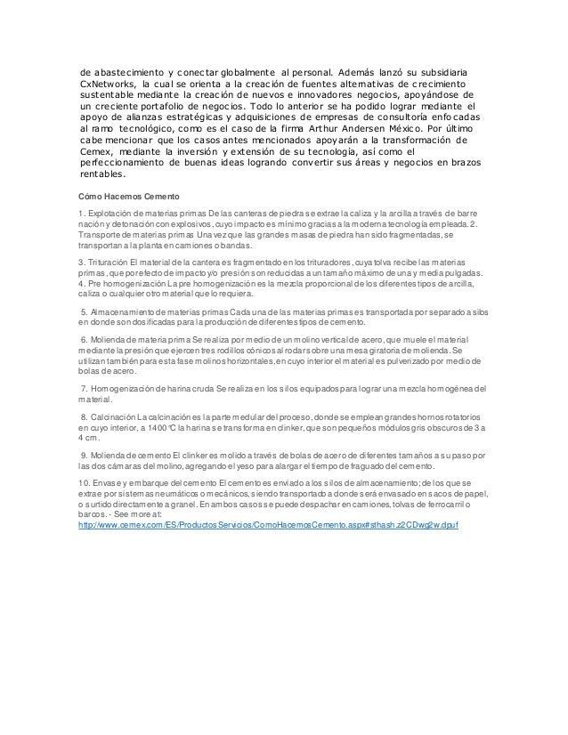 caso cemex Cemex invierte en innovación responsable para la construcción con el fin de garantizar la seguridad de sus trabajadores en planta.