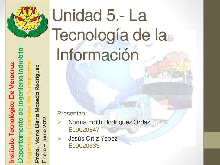 Instituto Tecnológico De VeracruzDepartamento de Ingeniería IndustrialLogística y Cadena de SuministrosProfa.: María Elena...