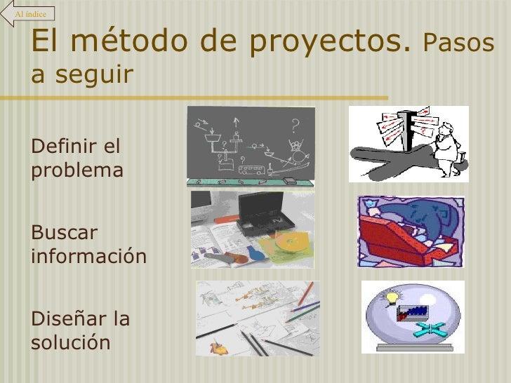 El método de proyectos.  Pasos a seguir Al índice Definir el problema Buscar información Diseñar la solución