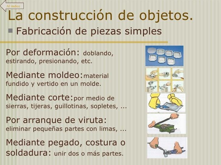 La construcción de objetos. <ul><li>Fabricación de piezas simples </li></ul>Al índice Por deformación:  doblando, estirand...