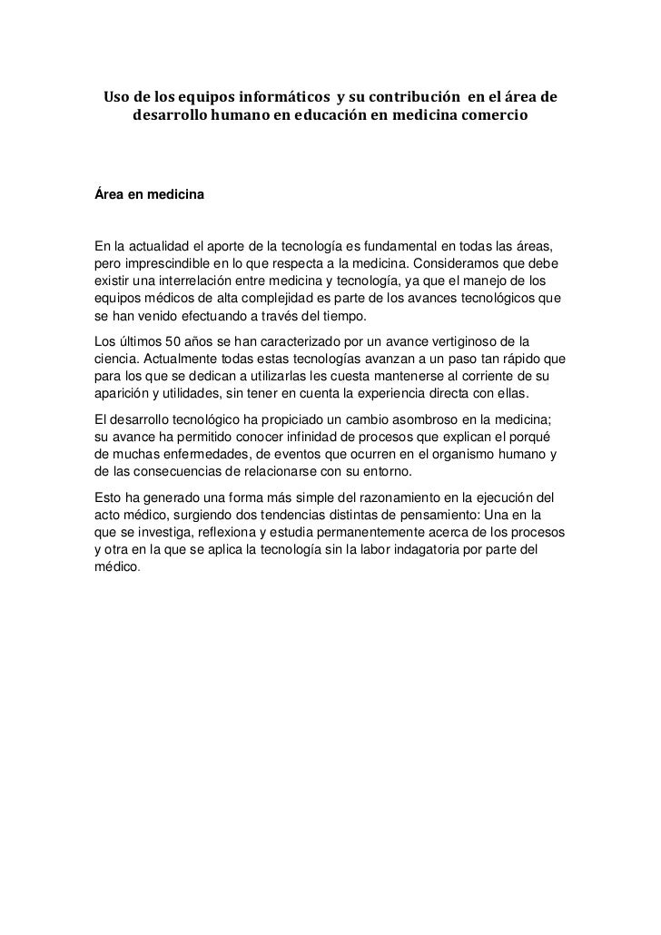 Uso de los equipos informáticos y su contribución en el área de     desarrollo humano en educación en medicina comercioÁre...
