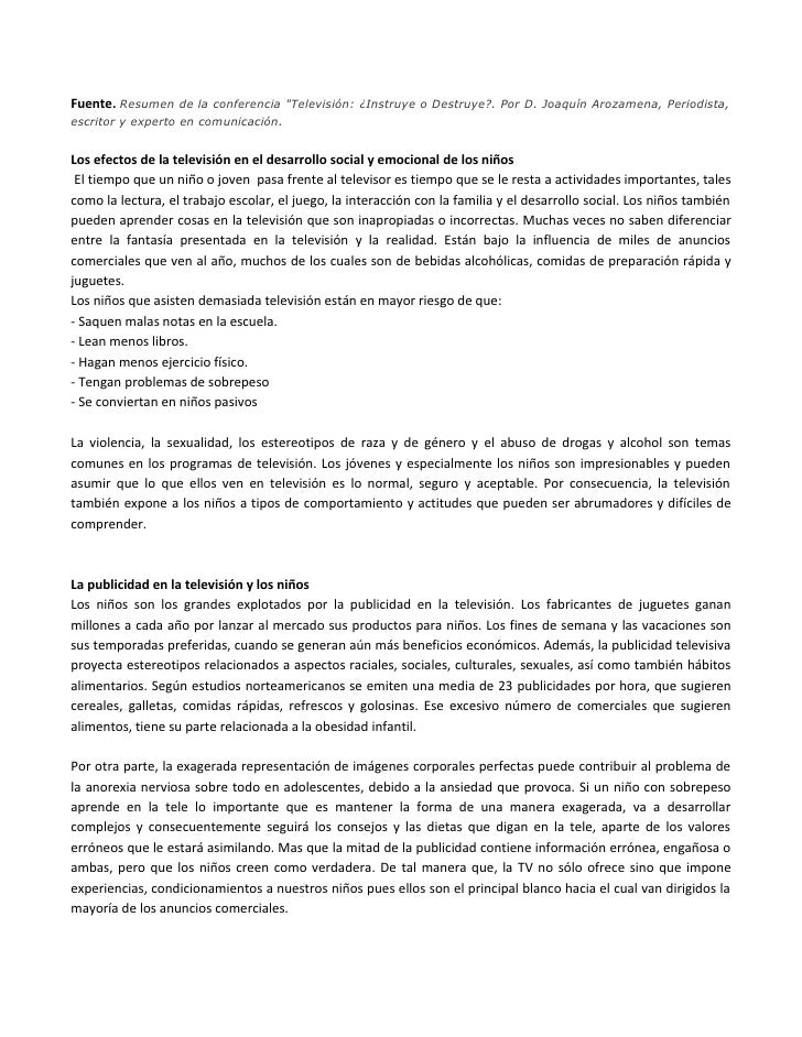 """Fuente. Resumen de la conferencia """"Televisión: ¿Instruye o Destruye?. Por D. Joaquín Arozamena, Periodista, escritor y exp..."""