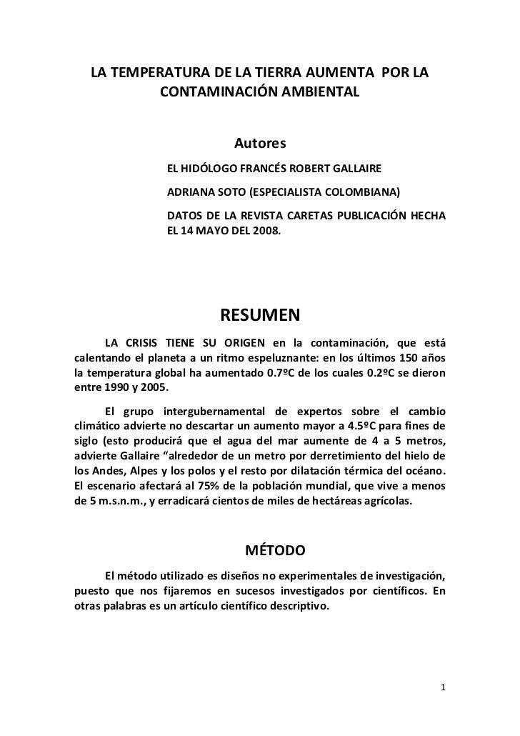 LA TEMPERATURA DE LA TIERRA AUMENTA  POR LA CONTAMINACIÓN AMBIENTAL<br />Autores<br />EL HIDÓLOGO FRANCÉS ROBERT GALLAIRE<...