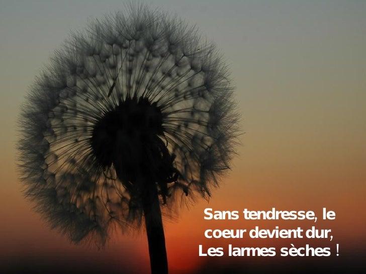 Sans tendresse, le coeur devient dur, Les larmes sèches !