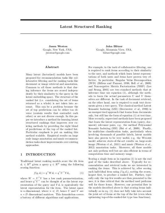 Latent Structured Ranking                       Jason Weston                                       John Blitzer           ...