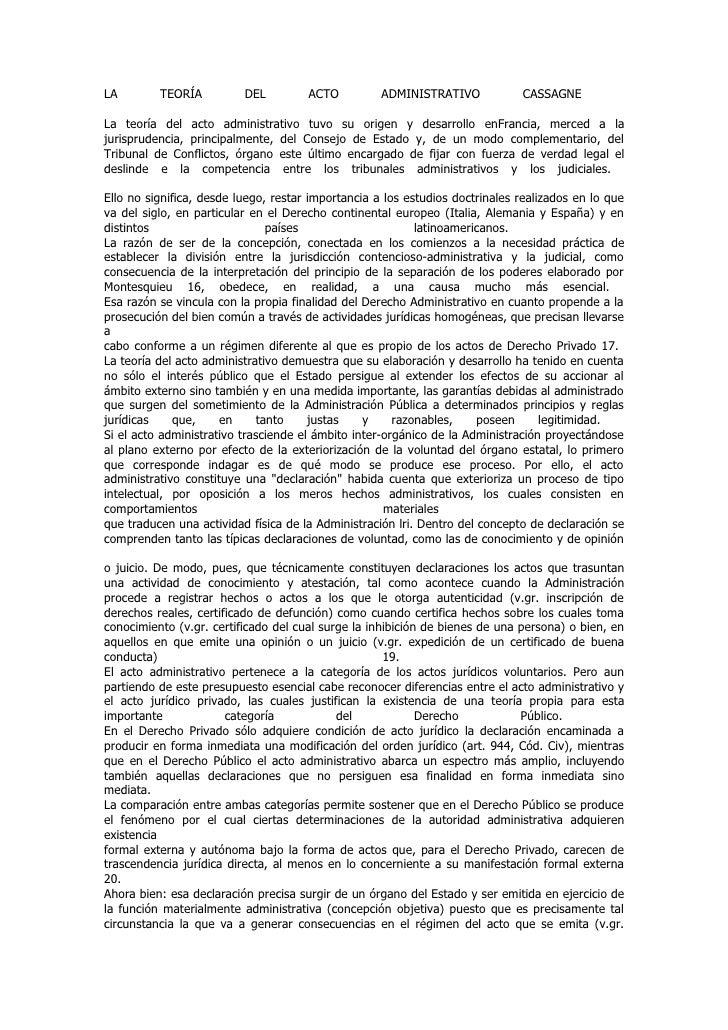 LA        TEORÍA          DEL         ACTO          ADMINISTRATIVO            CASSAGNELa teoría del acto administrativo tu...