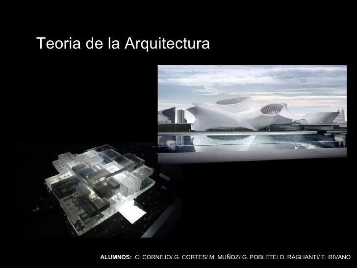 ALUMNOS:   C. CORNEJO/ G. CORTES/ M. MUÑOZ/ G. POBLETE/ D. RAGLIANTI/ E. RIVANO Teoria de la Arquitectura