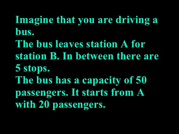 Imagine that you are driving a bus. The bus leaves station A for station B. In between there are 5 stops. The bus has a ca...