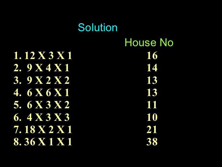 Solution House No 1. 12 X 3 X 1 16 2.  9 X 4 X 1 14 3.  9 X 2 X 2 13 4.  6 X 6 X 1 13 5.  6 X 3 X 2 11 6.  4 X 3 X 3 10 7....