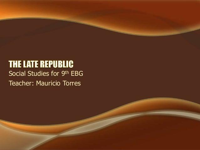 Social Studies for 9th EBG Teacher: Mauricio Torres