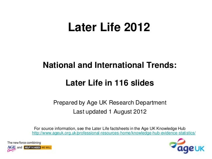 Later Life 2012     National and International Trends:                 Later Life in 116 slides           Prepared by Age ...