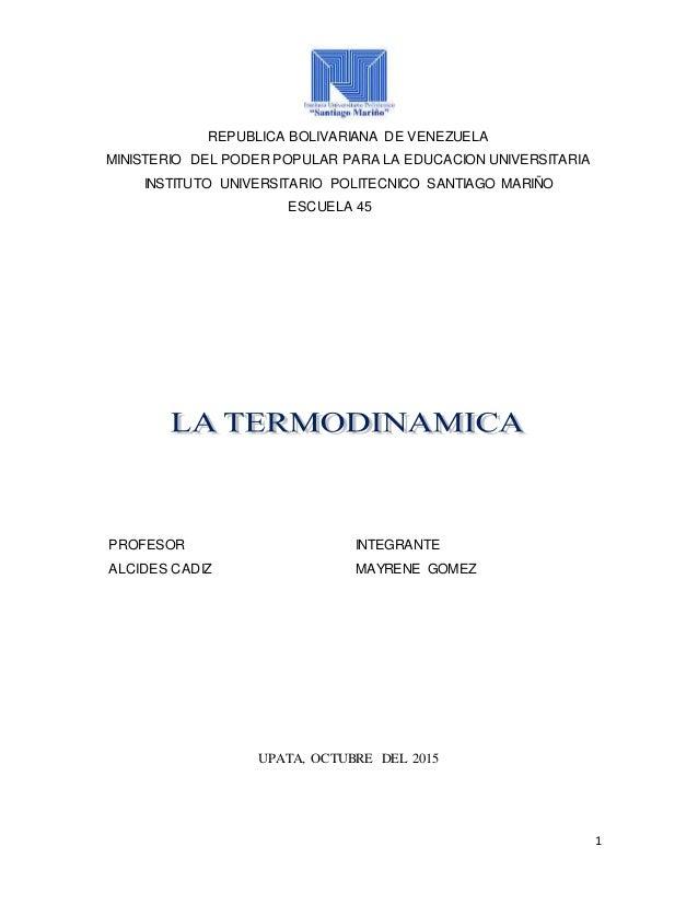 1 REPUBLICA BOLIVARIANA DE VENEZUELA MINISTERIO DEL PODER POPULAR PARA LA EDUCACION UNIVERSITARIA INSTITUTO UNIVERSITARIO ...